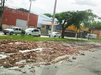 Caminhão derruba carne na pista em Cuiabá (Foto: Internauta/Arquivo pessoal)