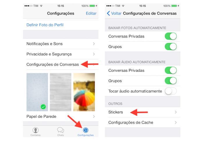 Acessando a página de stickers do Telegram para iPhone (Foto: Reprodução/Marvin Costa)