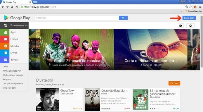 Destaque para botão de login na Google Play Store (Foto: Reprodução/Raquel Freire)