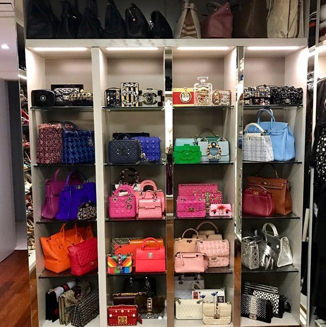 As bolsas no closet de Lala Rudge (Foto: Reprodução/Instagram)