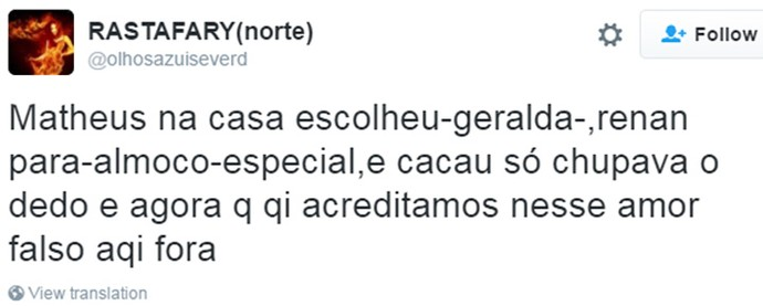 Tweet - crítica Catheus (Foto: Reprodução da Internet)