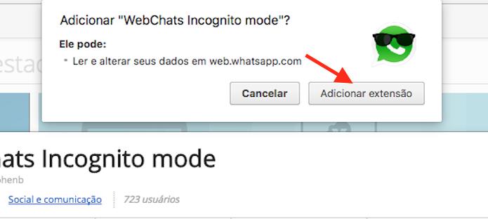 Opção para baixar e instalar a extensão WebChats Incognito Mode para Google Chrome (Foto: Reprodução/Marvin Costa)