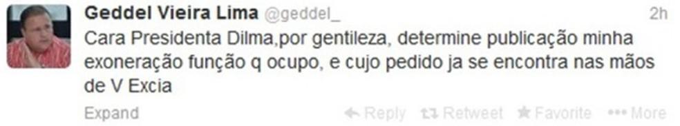 Mensagem publicada por Geddel em 2013 na qual pediu demissão pelo Twitter (Foto: Reprodução)