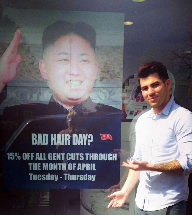 Salão de Londres fazia piada com penteado do líder norte-coreano (Foto: M&M Hair Academy/AP)