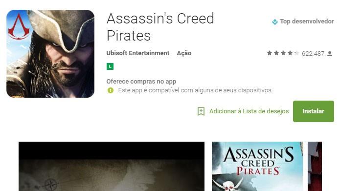 """Na página do Assassins Creed Pirates, clique em """"Instalar"""" para fazer o download (Foto: Reprodução/Tais Carvalho)"""