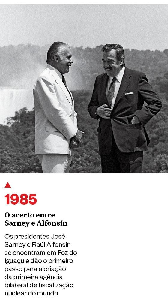 1985 - O acerto entre  Sarney e Alfonsín  (Foto: José Luiz/Ag. O Globo)
