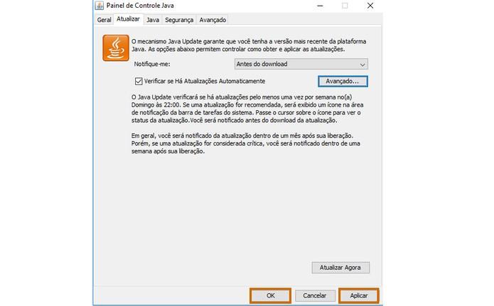 Aplique as alterações e feche a caixa do Java Update em Ok (Foto: Reprodução/Barbara Mannara)