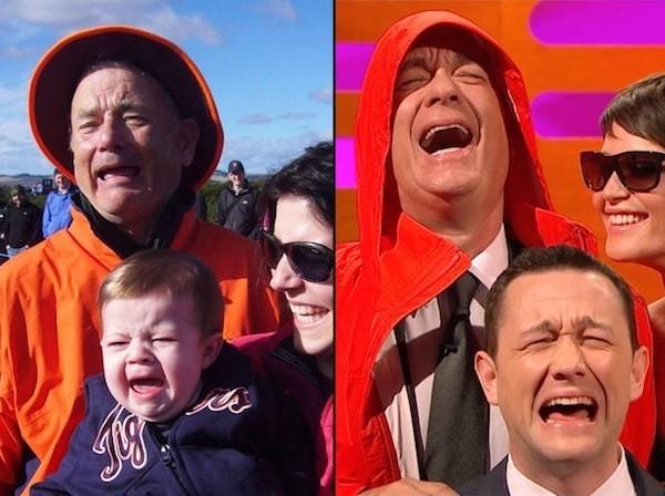 Tom Hanks recria o meme com Bill Murray ao lado de Gemma Arterton e Joseph Gordon-Levitt (Foto: Reprodução)