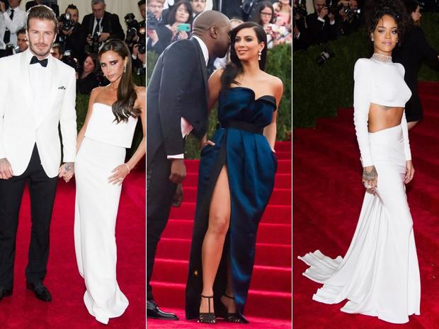 Os casais David e Victoria Beckham, Kanye West e Kim Kardashian e Rihanna. (Foto: AP Images)