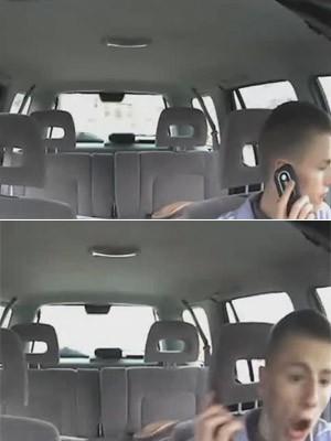 jovem usa o celular enquanto dirige (Foto: Divulgação/AAA)