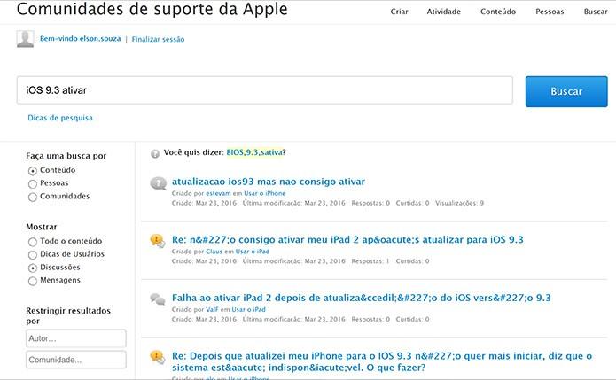 Fóruns da Apple ao redor do mundo estão cheios de perguntas sobre problemas na atualização do iOS 9.3 (Foto: Reprodução/Apple)