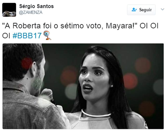 Mayara finalmente descobre que o sétimo voto foi da Roberta (Foto: Reprodução Internet/ Reprodução Twitter @Zamenza)
