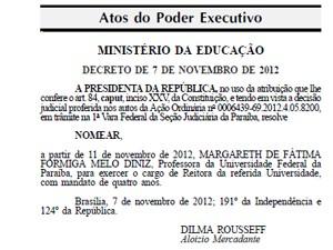 Diário Oficial da União traz nomeação de Margareth Diniz como nova reitora da UFPB (Foto: Divulgação)