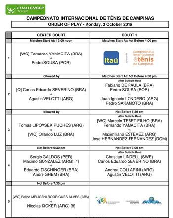 ATP Challenger Campinas tênis programação (Foto: Divulgação)