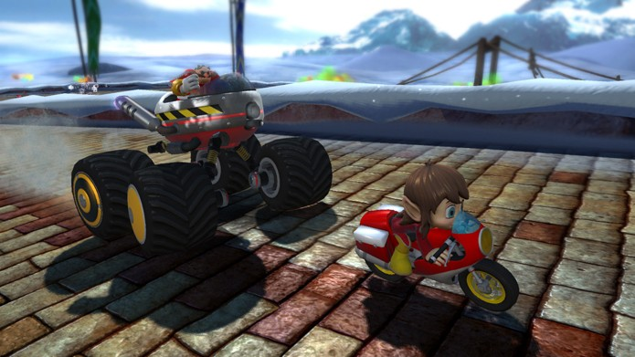 Alex Kidd deu as caras em jogo de corrida com outros personagens da Sega (Foto: Divulgação/Sega)