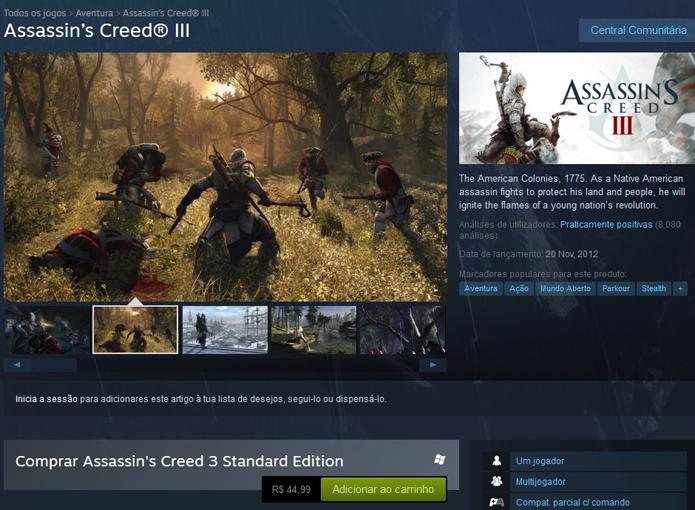 Assassins Creed 3 no Steam (Foto: Reprodução/André Mello)