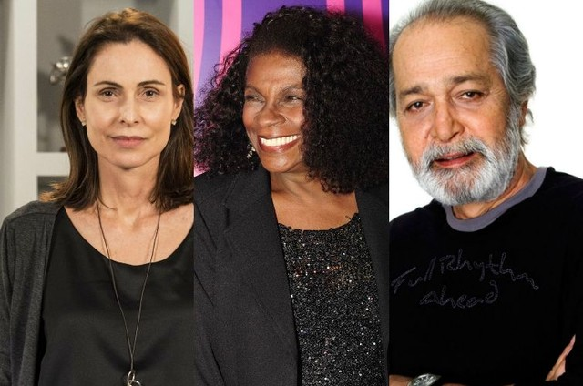 Silvia Pfeifer, Zezé Motta e Gracindo Júnior (Foto: TV Globo e reprodução)