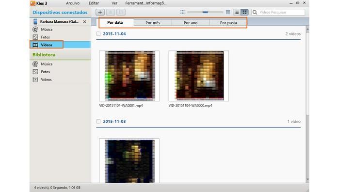 Menu para a sincronização de vídeos no celular com o PC no Samsung Kies (Foto: Reprodução/Barbara Mannara)