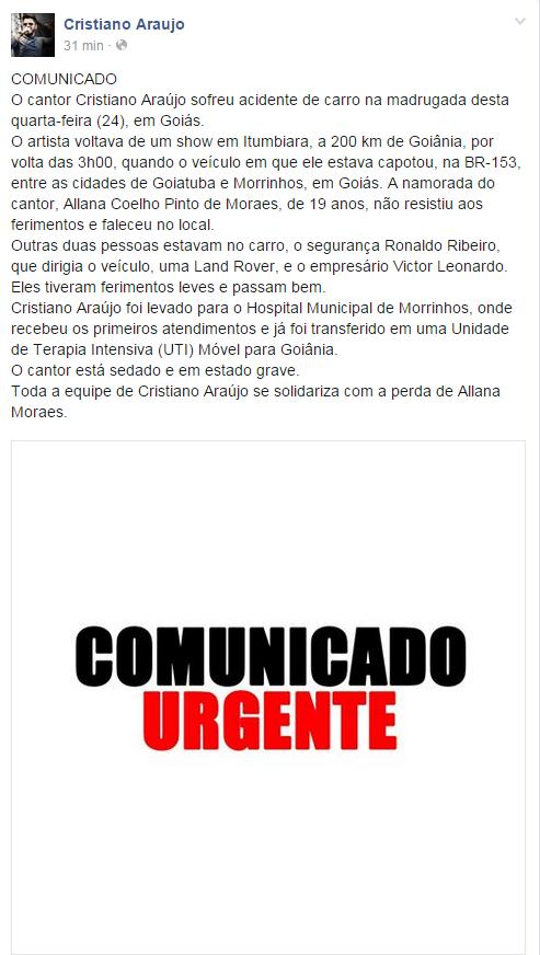 Cristiano Araújo (Foto: Reprodução/ Facebook)