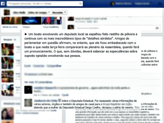 Boato que circulou nas redes sociais (Foto: Reprodução/Facebook)