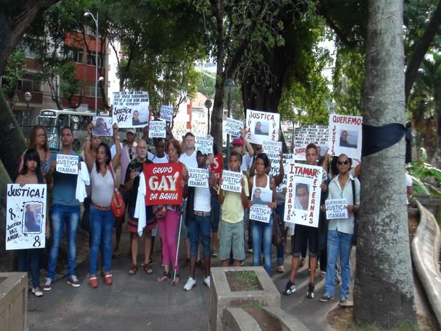 Protesto contra morte de Itamar, estudante universitário, em Salvador, na Bahia (Foto: Alana Sampaio/G1 BA)