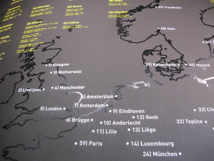 Mapa com cidades onde o Borussia jogou na Europa