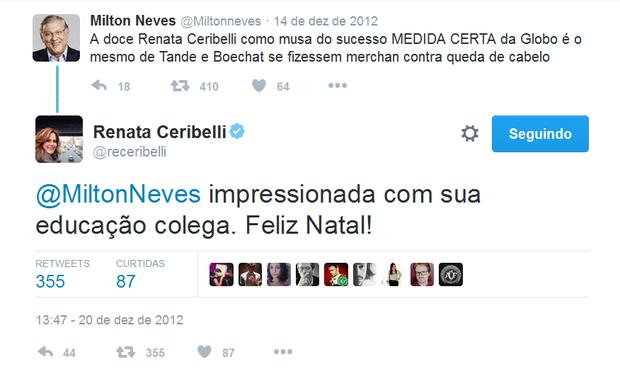 Milton Neves alfineta e Renata Ceribelli responde (Foto: Reprodução/Twitter)