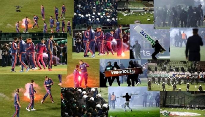 Mosaico violência Panathinaikos x Olympiacos (Foto: Reprodução site oficial Olympiacos)