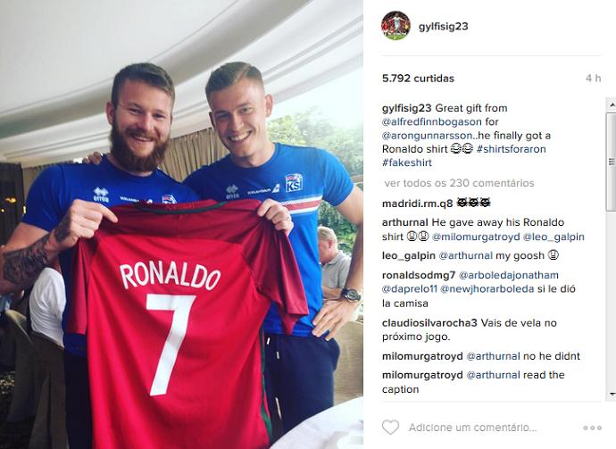 Gunnarsson Islândia Cristiano Ronaldo camisa Eurocopa (Foto: Reprodução/Instagram)