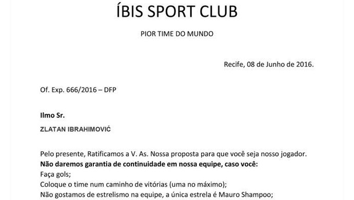 proposta ibis ibrahimovic (Foto: Reprodução / Twitter)