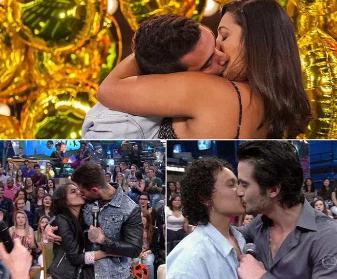 André Marques, Lucas Lucco e Fiuk beijando anônimas na TV (Foto: Reprodução e Artur Meninea/Gshow)
