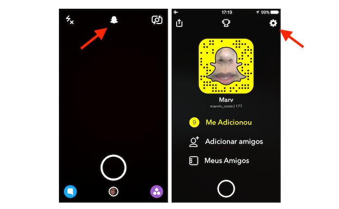 Acesso às configurações do Snapchat (Foto: Reprodução/Marvin Costa)