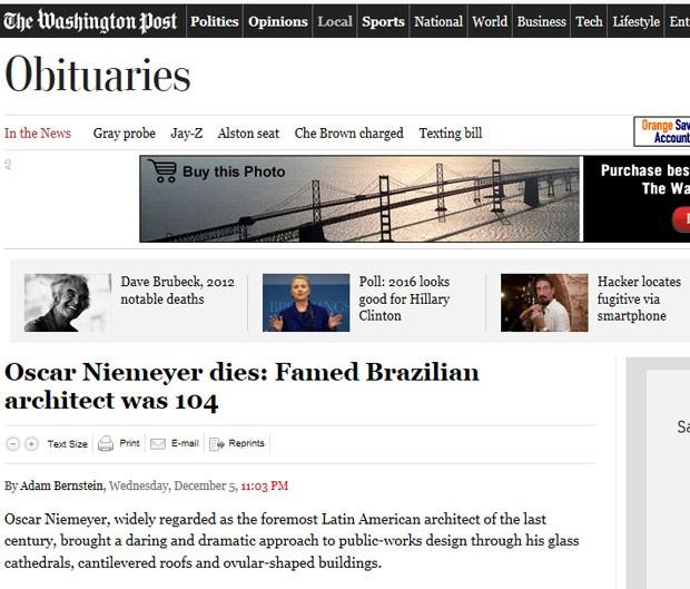 O obituário do jornal americano 'Washington Post' afirma que o projeto de Brasília, nos anos 1950, 'alçou-o à atenção internacional e o definiu como uma das mentes criativas mais distintas de sua profissão' (Foto: Reprodução)