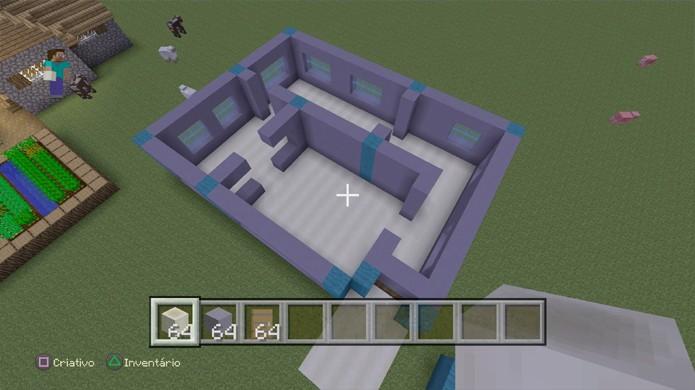 Escolha um bom material para o chão da sua casa em Minecraft (Foto: Reprodução/Rafael Monteiro)