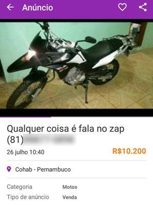 Suspeitos usavam anúncio na OLX para atrair vítimas no Grande Recife (Foto: OLX/Reprodução)