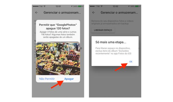 Deletando fotos do iPhone sincronizadas com o Google Fotos (Foto: Reprodução/Marvin Costa)