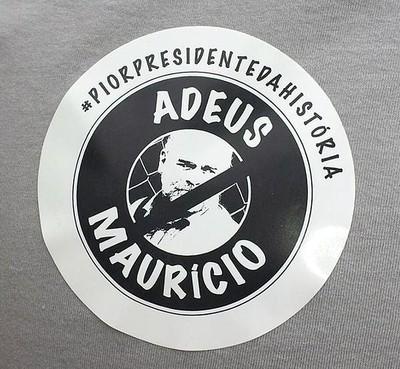 Adesivo distribuído nas eleições do Botafogo apontam Mauricio Assumpção como o pior presidente da História do clube (Foto: Fred Gomes)