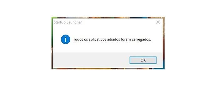 Startup Delayer avisa quando todos os apps estiverem carregador após ligar o PC (Foto: Reprodução/Isabela Giantomaso)