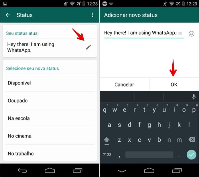 Alterando o status do whatsapp no android foto foto reprodu 231 227 o