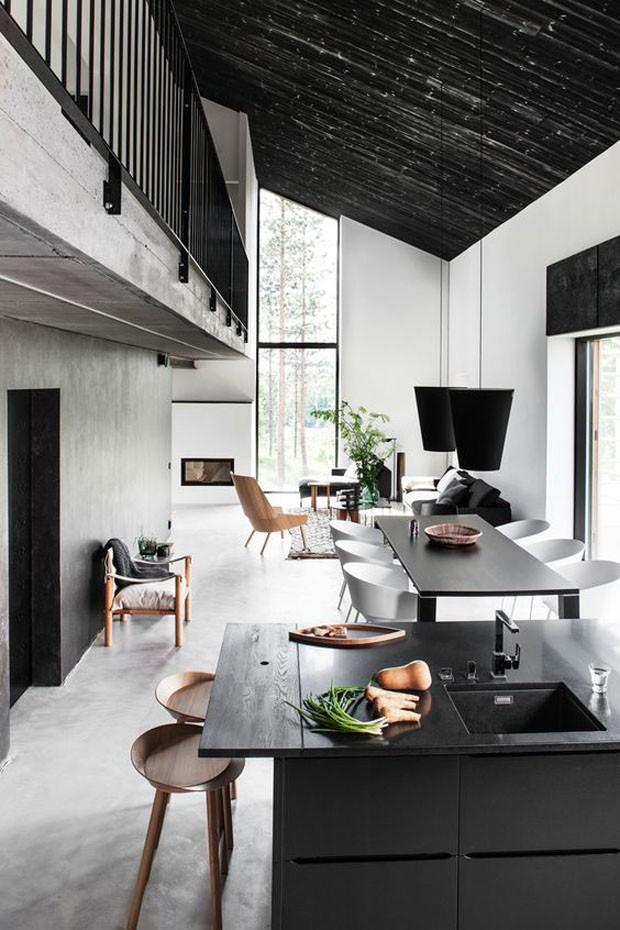 Décor do dia: sala de estar, jantar e cozinha em preto e branco (Foto: Reprodução)