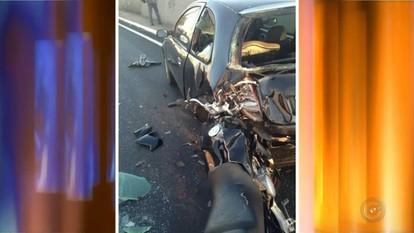 Acidente entre carro e moto deixa motociclista ferido em Marília