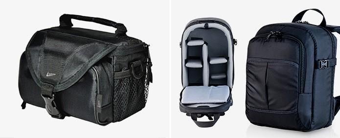 Cases e mochilas para câmeras ajudam a proteger o equipamento durante seu transporte (Foto: Reprodução/Leadership e ALHVA)