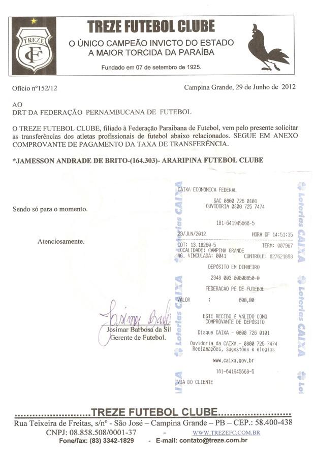 Comprovante de pagamento do Treze por Jamesson (Foto: Divulgação/ Treze)