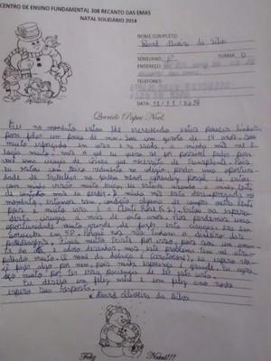 Carta escrita pelo adolescente David Oliveira da Silva, de 14 anos (Foto: Jorge Santos/Arquivo Pessoal)