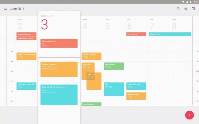 Aparência do Google Calendar após mudanças nas plataformas do Google promovidas pelo Material Design (Foto: Reprodução/Google).