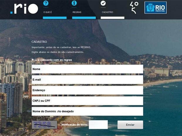 Página da ´Prefeitura para cadastrar o domínio (Foto: Reprodução / Prefeitura do Rio)