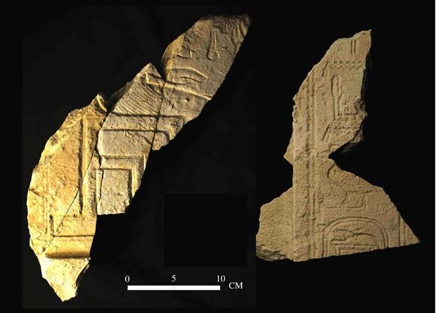 Imagem mostra fragmentos da tumba do faraó Sobekhotep I encontrados por pesquisadores emericanos. (Foto: AFP Photo/SCA)