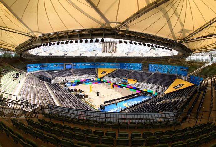 Arena montada em Hamburgo para Major Serie de Vôlei de Praia (Foto: Divulgação / FIVB)