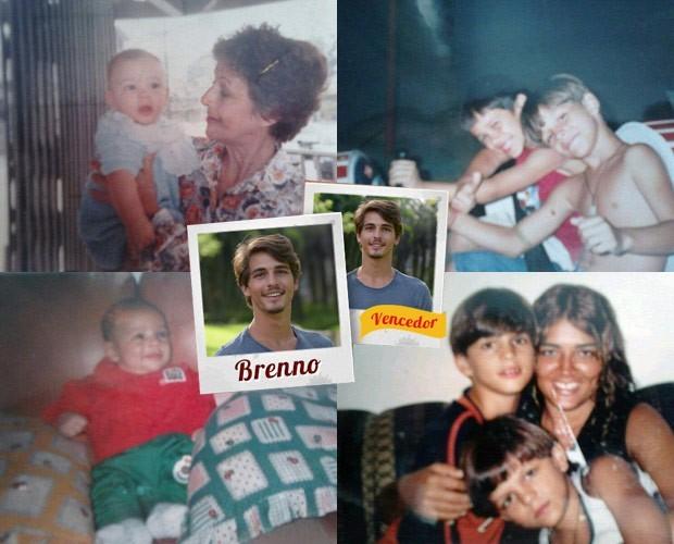 Brenno e suas fotos de infância (Foto: Arquivo Pessoal/TV Globo)