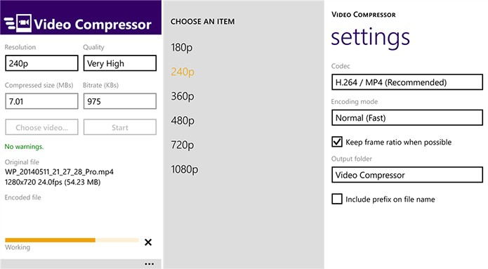 Video Compressor é um aplicativo que ajudar a diminuir o tamanho de vídeos para enviá-los pela Internet (Foto: Divulgação/Windows Phone Store)